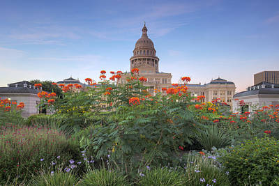 September Flowers At The State Capitol 1 Poster