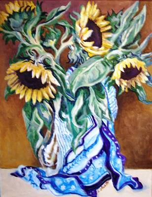 September Sunflowers Poster by Laura Aceto