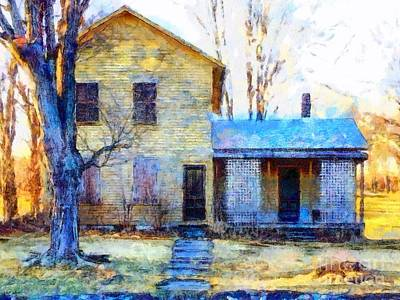 Poster featuring the photograph September's Song - Yellow Farmhouse  by Janine Riley