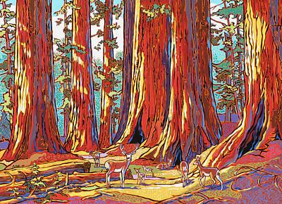 Sequoia Deer Poster