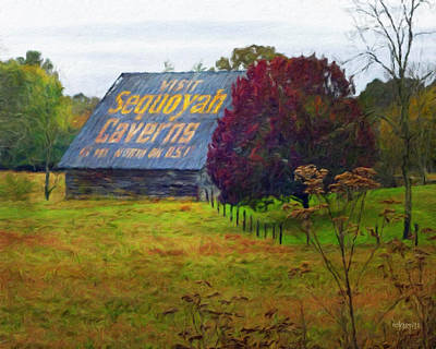 Sequoyah Caverns Sign Old Barn Poster