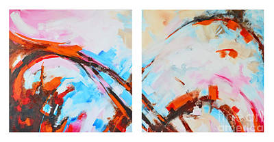 Serendipity No.1 And 2 Modern Abstract Art - Diptych Poster by Patricia Awapara