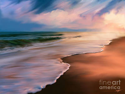 Serene Beach At Sunrise Poster by Anthony Fishburne