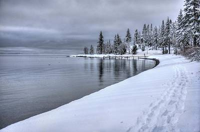 Serene Beauty Of Lake Tahoe Winter Poster
