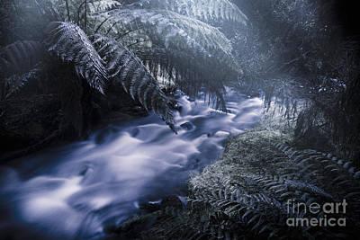 Serene Moonlit River Poster