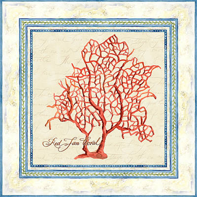 Serene Shores - Red Fan Coral Poster by Audrey Jeanne Roberts