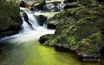 Serene Waterfall Poster by MS  Fineart Creations