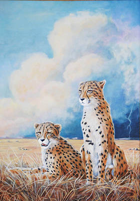 Poster featuring the painting Serengeti Strikes by DiDi Higginbotham