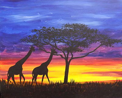 Poster featuring the painting Serengeti Sunset by Darren Robinson