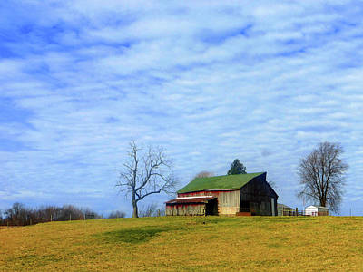 Serenity Barn And Blue Skies Poster by Tina M Wenger