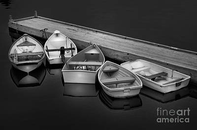 Serenity On A Maine Harbor-five Dinghy's Black And White By Thomas Schoeller  Poster
