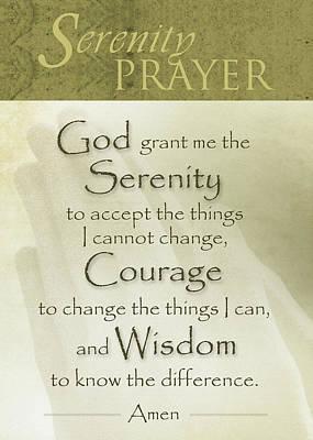 Serenity Prayer With Praying Hands Poster