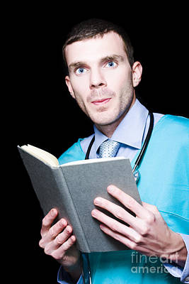 Serious Doctor Holding Medical Research Book Poster