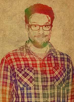 Seth Rogen Comedian Actor Watercolor Portrait On Canvas Poster