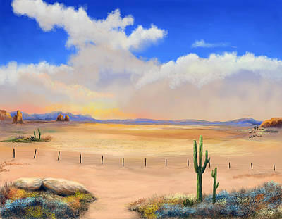 Poster featuring the painting Setting Desert Sun by Sena Wilson