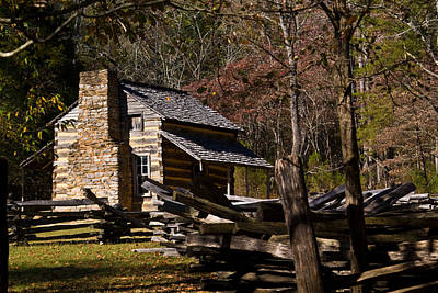 Settlers Cabin Cades Cove Poster