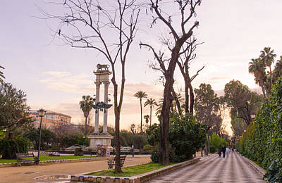 Seville At Sunset - Murillo Gardens Poster by Andrea Mazzocchetti
