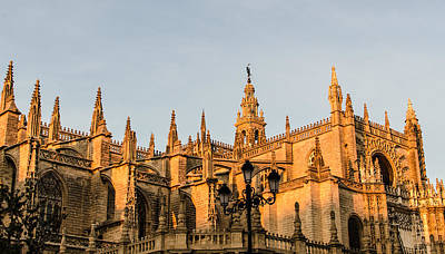 Seville - Sunset On The Cathedral  Poster by Andrea Mazzocchetti