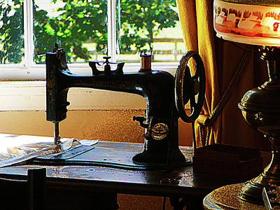 Sewing Machine And Lamp Poster by Susan Savad