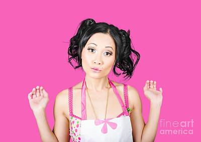 Cute Asian Pinup Woman With Surprised Expression Poster