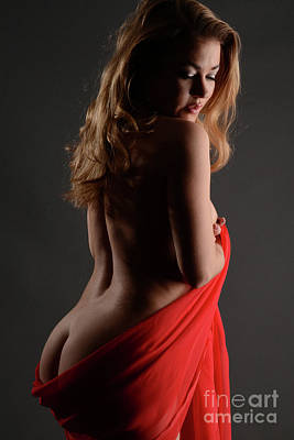 Sexy Backside Draped In Red Poster