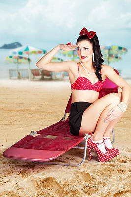 Sexy Beach Pin Up Girl Wearing High Heels Poster by Jorgo Photography - Wall Art Gallery