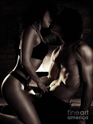 Sexy Couple Kissing Making Love In Front Of A Fireplace Poster