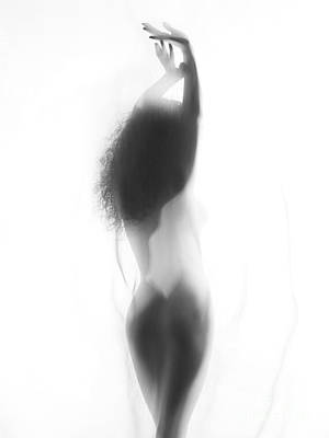 Sexy Nude Woman Back Silhouette Behind White Smoky Curtain Poster