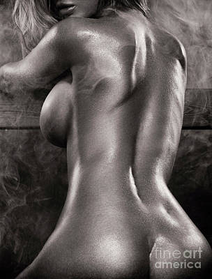 Sexy Nude Woman In Steam Room Naked Back Artistic Black And Whit Poster