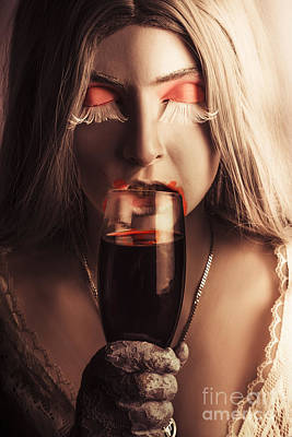 Sexy Vampire Girl With Holding Glass Of Blood Poster