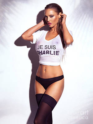 Sexy Young Woman In Wet Je Suis Charlie Shirt And Lingerie Charlie Riina Poster by Oleksiy Maksymenko