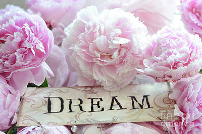 Shabby Chic Cottage Dreamy Pink Peonies - Pink Peony Prints Poster