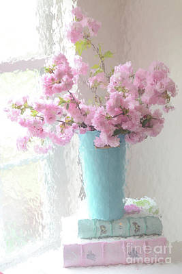 Shabby Chic Cottage Pink Blossoms - Impressionistic Shabby Chic Dreamy Pink Blossoms Floral Fine Art Poster by Kathy Fornal