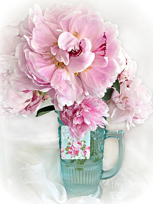 Shabby Chic Cottage Pink Peonies Peony Flower Print - Romantic Cottage Pink Aqua Peonies In Vase Poster