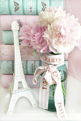 Parisian Cottage Pink Peonies With Eiffel Tower And Books - Shabby Cottage Peony Eiffel Tower Art Poster