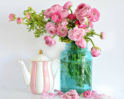 Shabby Chic Cottage Ranunculus Roses Peonies Pink Aqua Cottage Floral Prints Home Decor  Poster