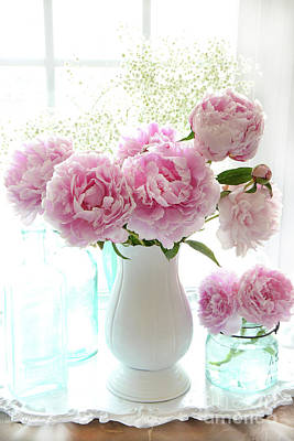 Shabby Chic Cottage Romantic Pink White Peonies In Window - Romantic Peonies Decor  Poster
