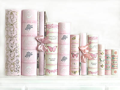 Poster featuring the photograph Shabby Chic Pink Books Collection - Paris Pink Books Art Prints Home Decor by Kathy Fornal