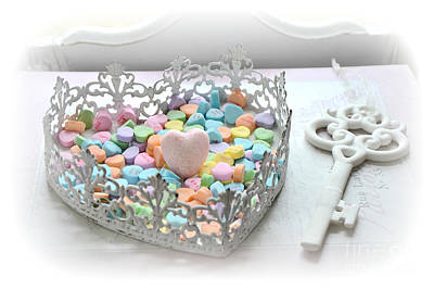 Shabby Chic Romantic Candy Hearts With White Key - Romantic Valentine Candy Hearts  Poster