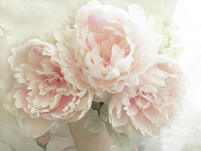 Poster featuring the photograph Shabby Chic Romantic Pastel Pink Peonies Floral Art - Pastel Peonies Home Decor by Kathy Fornal