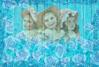 Shabby Chic Vintage Little Girls And Roses On Wood Poster