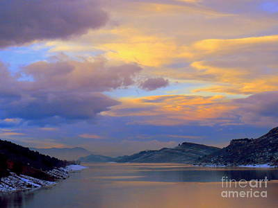 Shades Of Lake Sunsets-1 Poster by Diane M Dittus