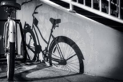 Shadow Of A Bike At Carolina Beach Poster