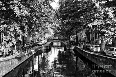 Shadows Along The Amsterdam Canal Mono Poster by John Rizzuto