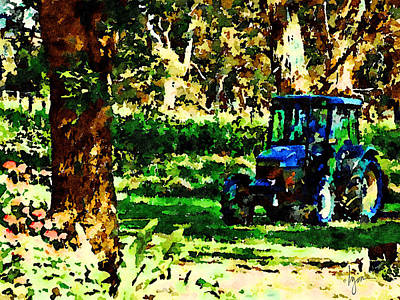Poster featuring the painting Shady Tractor by Angela Treat Lyon