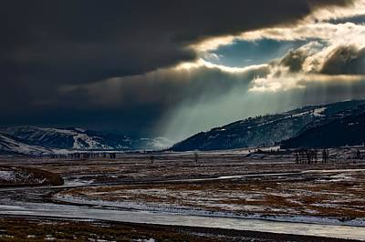 Shaft Of Sunlight In Lamar Valley Poster by Neal Herbert