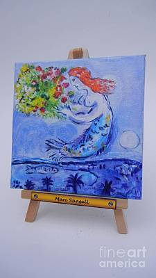 Chagall's Mermaid Poster by Diana Bursztein