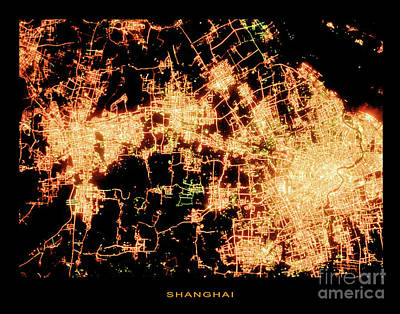 Poster featuring the photograph Shanghai From Space by Delphimages Photo Creations