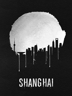 Shanghai Skyline Black Poster by Naxart Studio
