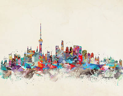 Shanghai Skyline Poster by Bri B